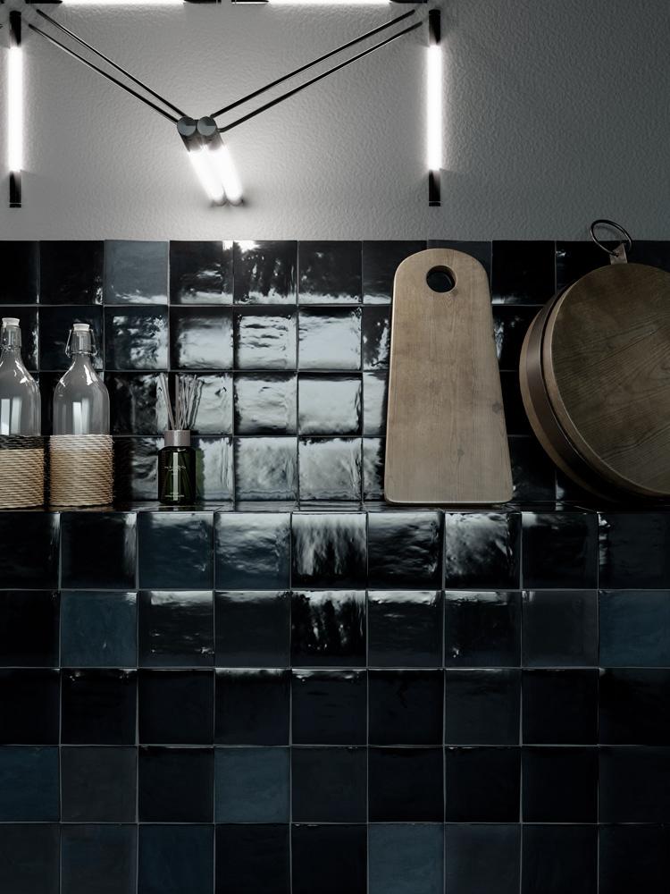 retro obklady do kuchyně 10x10 černé