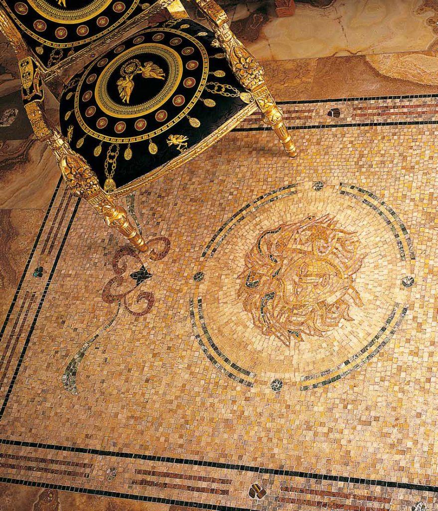mozaika antická na zem retro