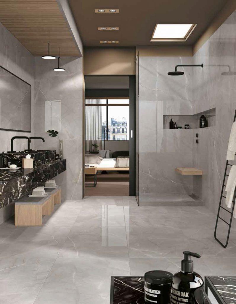 obklady do koupelny šedý kámen mramor