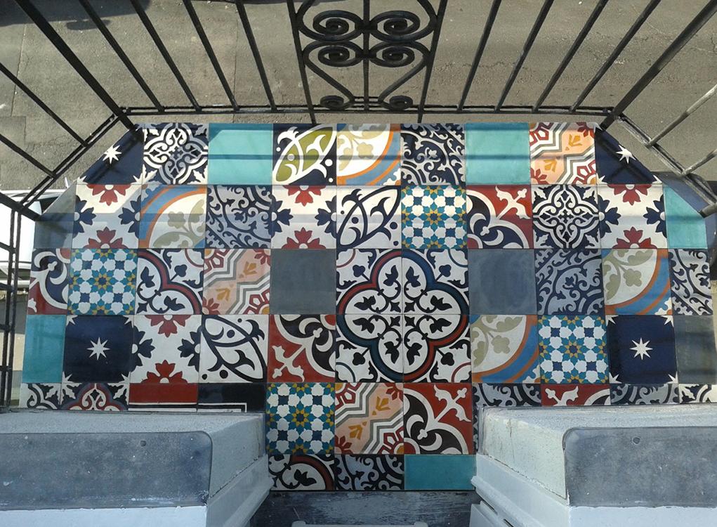obklady dlažba orientální cementová patchwork balkon