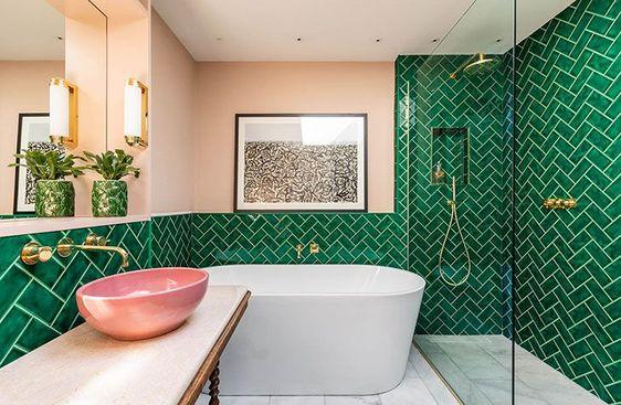 obklady koupelny inspirace retro rybí šupina stromeček