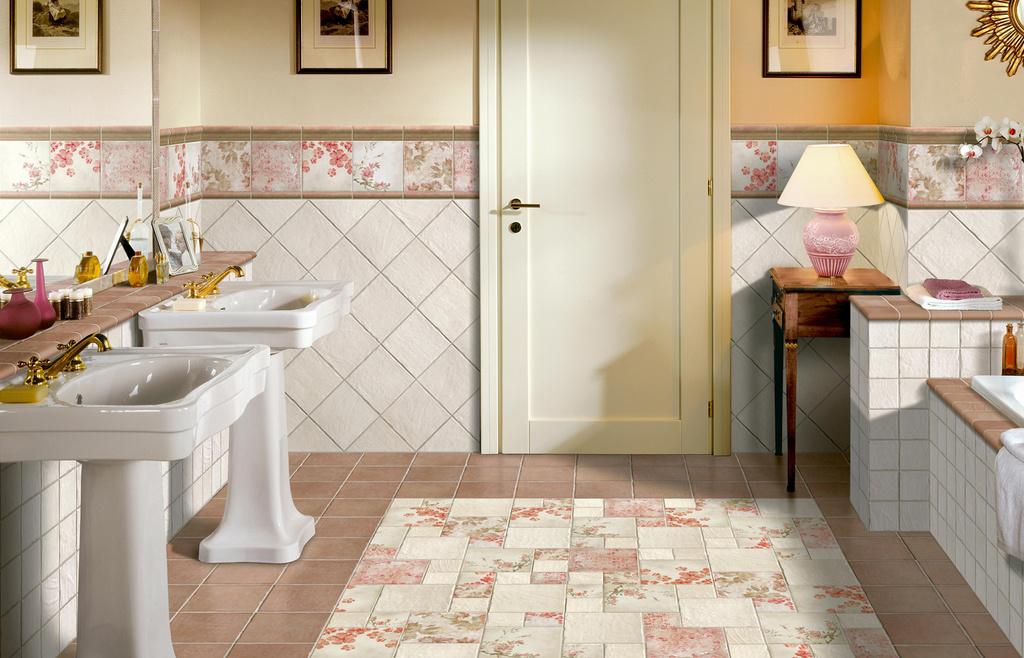 romantické obklady dlažba retro koupelny