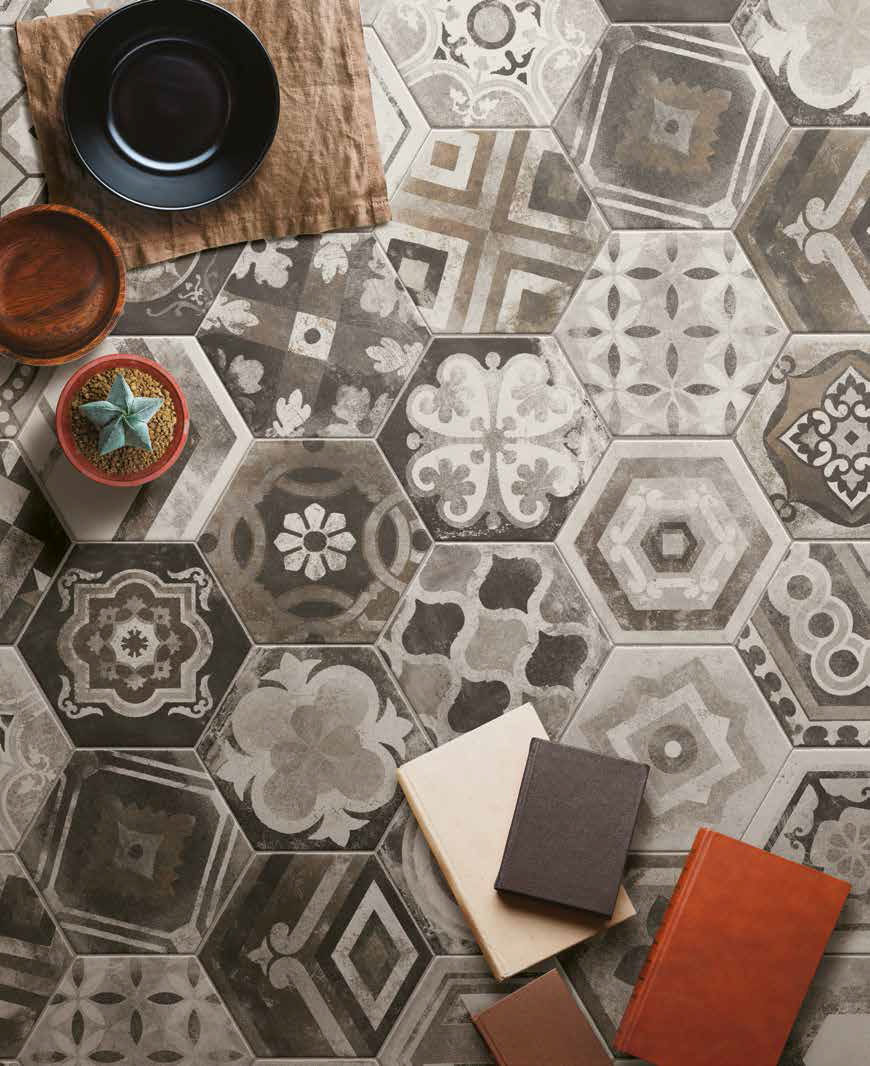 dlažba hexagonální patchwork dekory