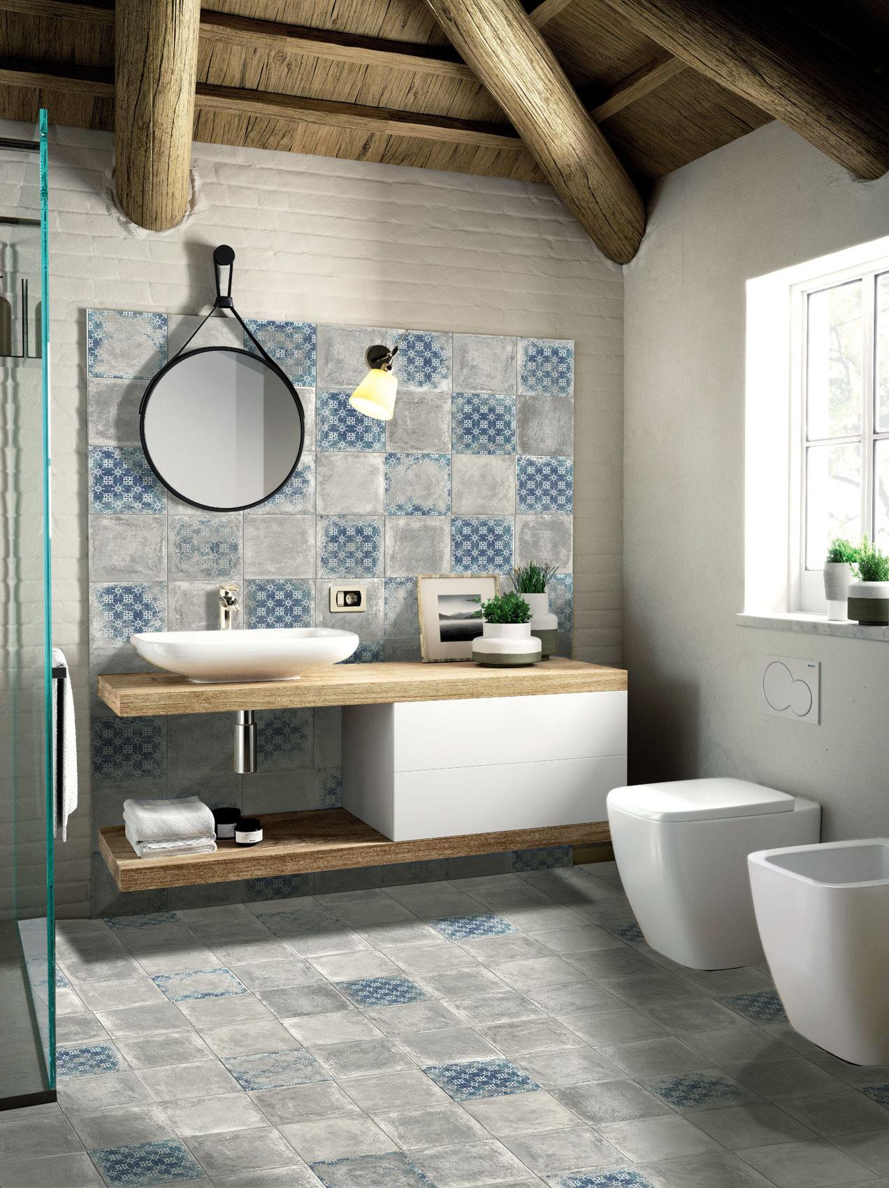 obklady do koupelny rustikální modrá retro