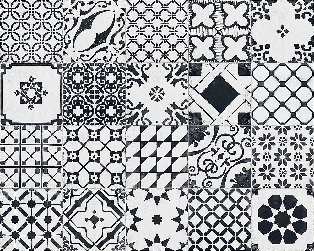 retro dlažba černobílá patchwork