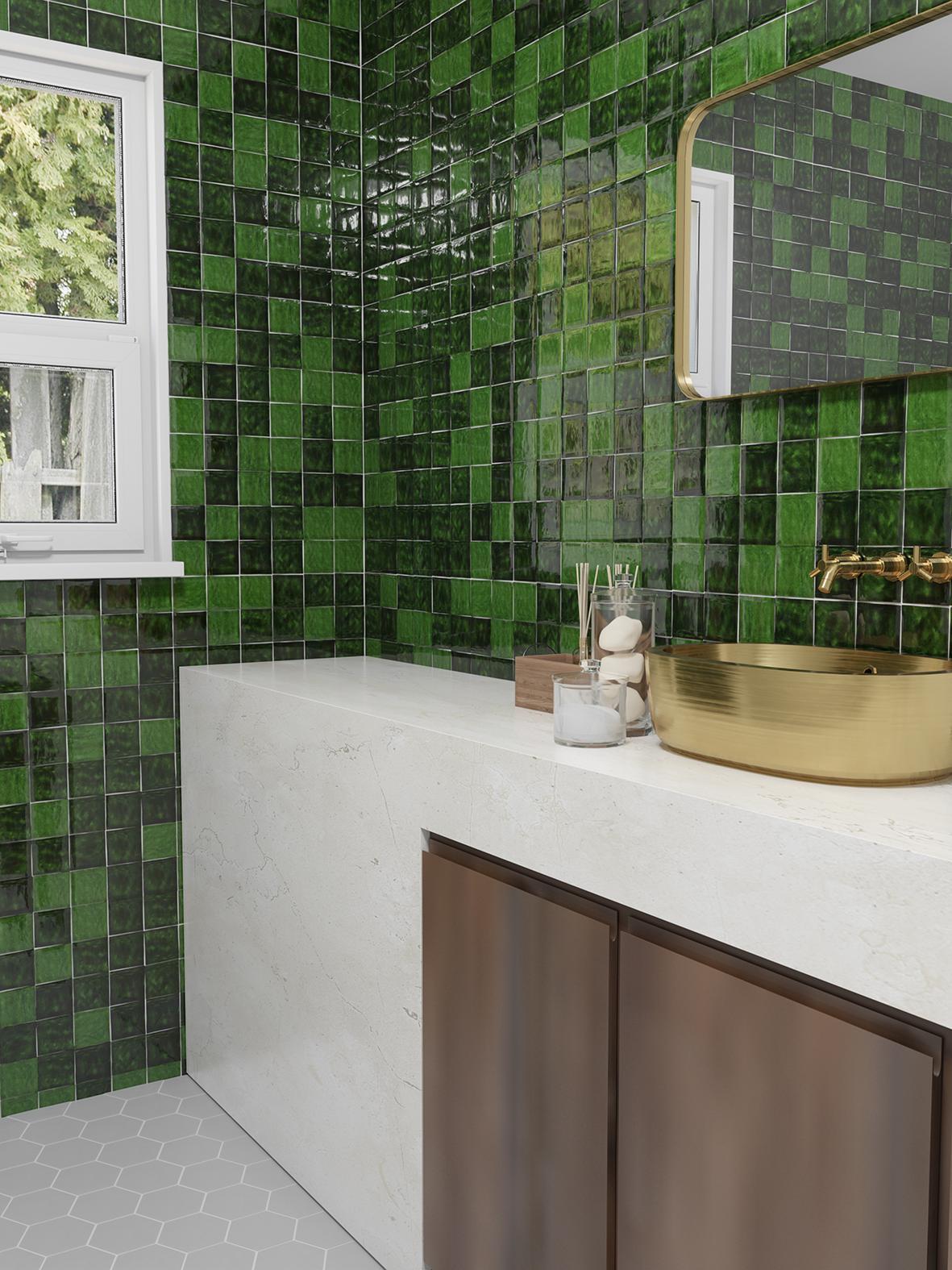 obklady zelené kuchyně 10x10