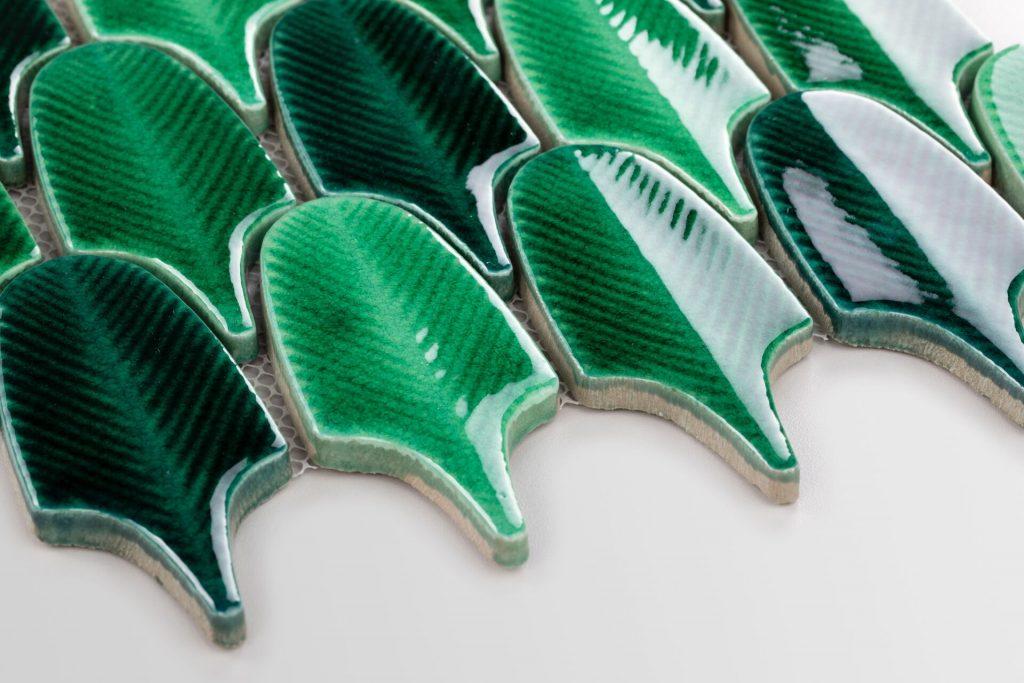 raw decor mozaika leaves zelená listy tvary