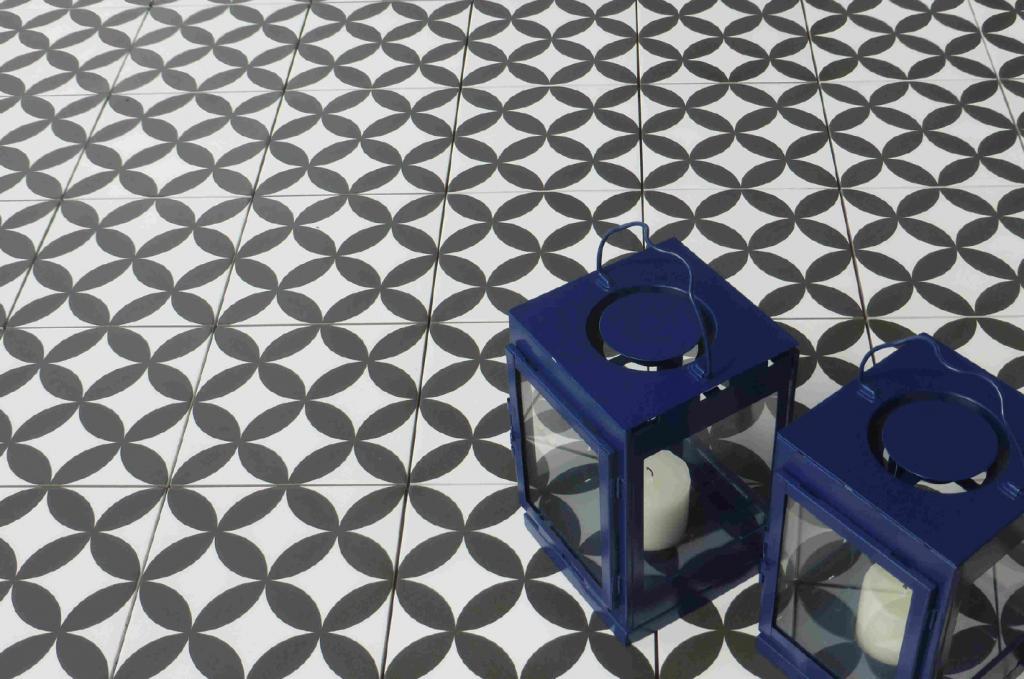 neocim fleur noir obklady dlažba 20x20 vrbové listy minimalistická severský design styl nordic design černo bílá