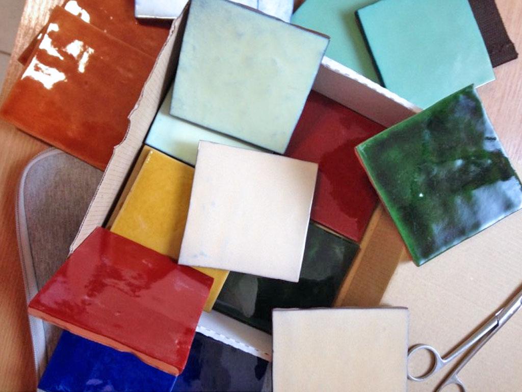 jednobarevné obklady výrazné barvy 10x10 retro